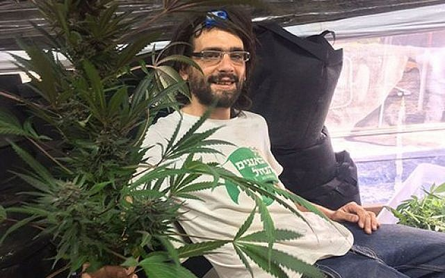 Amos Silver with a cannabis plant. (Courtesy)