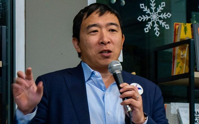 Democratic presidential hopeful Andrew Yang. (Marc Nozell/Wikimedia Commons via JTA)