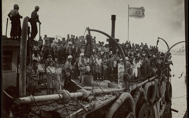 Arrival of the Exodus. From the National Library of Israel Photograph Collection (Credit Photo Keren HaYesod)
