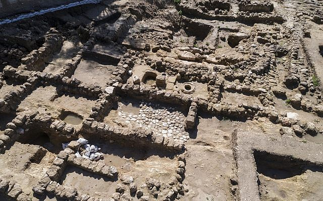 A large 7th century olive oil industrial area was discovered during salvage excavations at Tel Beit Shemesh. (Courtesy of the Israel Antiquities Authority, photograph: Tal Rogovsky)