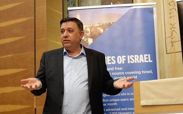 Labor party leader Avi Gabbai addresses an event in Tel Aviv sponsored in part by the Times of Israel on March 31, 2019.  (Melanie Lidman/Times of Israel)