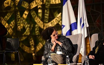 Jamaica Kincaid listens during a panel on migration at the National Library of Israel's Global Forum, March 18, 2019. (Yonatan Kelberman)