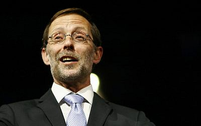 Zehut party leader Moshe Feiglin attends a party conference in Tel Aviv on February 28, 2017. (Flash90)