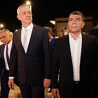 From left to right: Yair Lapid, Benny Gantz, Gabi Ashkenazi and Moshe Ya'alon of the Blue and White party arrive to give a joint a statement in Tel Aviv on February 21, 2019. (Noam Revkin Fenton/Flash90)