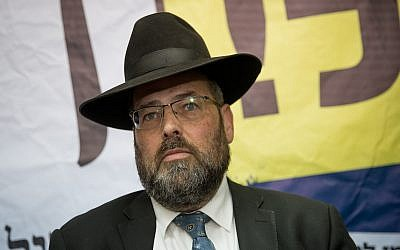 Eliezer Rauchberger, the deputy mayor of Jerusalem and chairman of the Degel Hatorah party branch in the capital, at the opening of Degel HaTorah's municipal election campaign offices in Jerusalem on October 10, 2018. (Yonatan Sindel/Flash90)