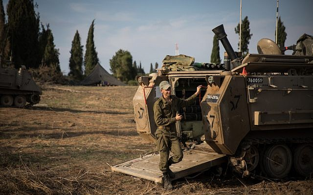 Illustrative. IDF forces gather in southern Israel following clashes in the Gaza Strip on November 13, 2018. (Hadas Parush/Flash90)