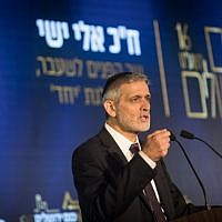 Yachad party chairman Eli Yishai speaks at the 16th annual Jerusalem Conference of the 'Besheva' group, on February 12, 2019. (Hadas Parush/Flash90)
