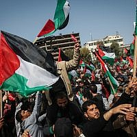 Illustrative: Palestinian demonstrators attend a protest in Gaza City, on February 24, 2019. (Abed Rahim Khatib/ Flash90)