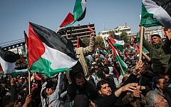 Illustrative: Palestinian demonstrators attend a protest in Gaza City, on February 24, 2019. (Abed Rahim Khatib/ Flash90)