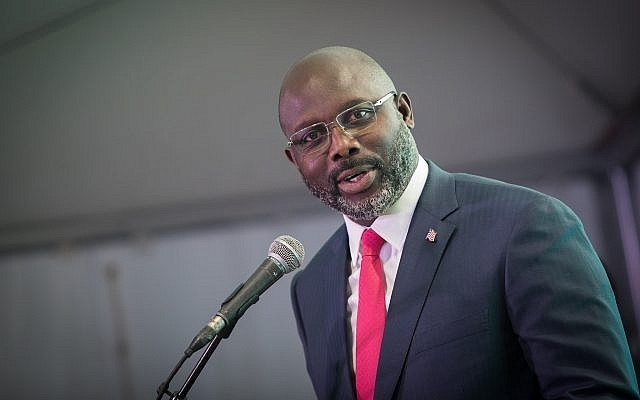 Liberian President George Weah speaks during a soccer event in Jerusalem on February 27, 2019. (Noam Revkin Fenton/Flash90)