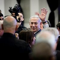 Prime Minister Benjamin Netanyahu at the launch of his Likud party's election campaign in Ramat Gan, March 4, 2019. (Aharon Krohn/ Flash90)
