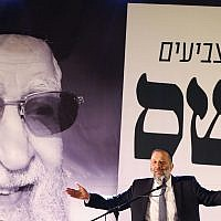 Aryeh Deri speaks during a conference of the Shas party in the southern Israeli city of Ashdod on March 5, 2019. (Flash90)