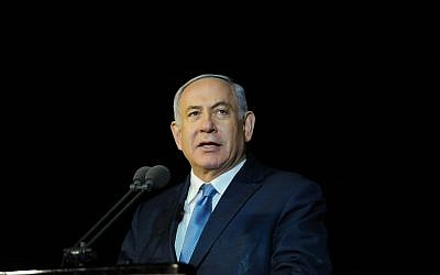 Prime Minister Benjamin Netanyahu speaks during a graduation ceremony for Israeli Navy cadets in Haifa on March 6, 2019 (Meir Vaknin/Flash90)