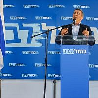 Illustrative. Gabi Ashkenazi of the Blue and White party during a campaign event in northern Israel, March 7, 2019. (Meir Vaknin/Flash90)