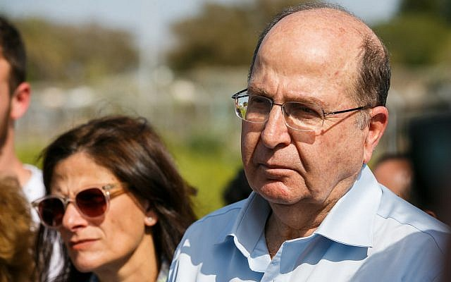 Blue and White's Moshe Ya'alon is seen during a visit to the Gaza border area with other members of the party on March 13, 2019. (Flash90)