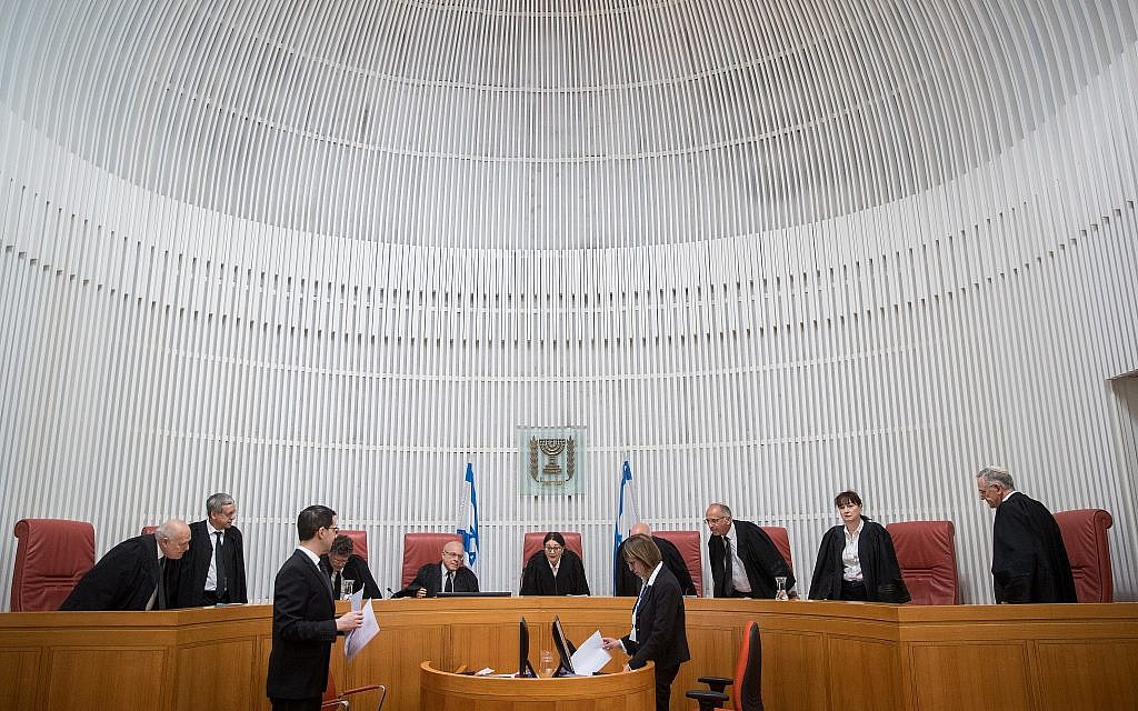 Illustrative. Israeli Supreme Court justices, at a hearing on March 13, 2019. (Yonatan Sindel/ Flash90)