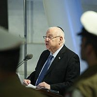 President Reuven Rivlin during a ceremony for fallen MIA Israeli soldiers at Mount Herzl Military cemetery in Jerusalem on March 14, 2019. (Noam Revkin Fenton/Flash90)