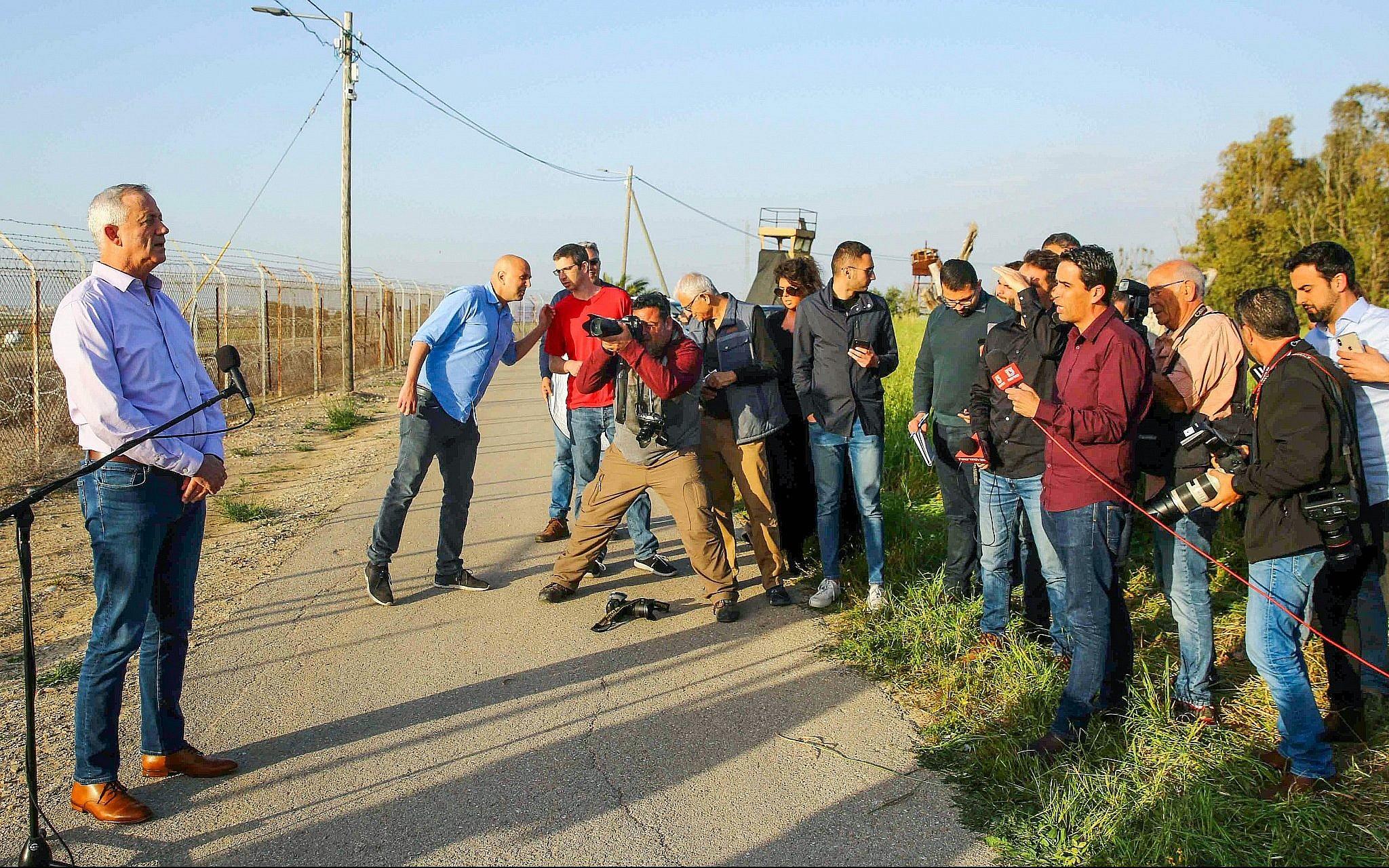 Blue and White leader Benny Gantz holds a press conference at Kibbutz Nahal  Oz, near