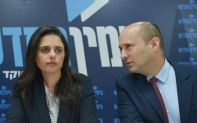 The New Right party co-leaders Ayelet Shaked and Naftali Bennett hold a press conference in Tel Aviv on March 17, 2019. (Flash90)