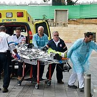 An Israeli man injured in a shooting attack in the northern West Bank is brought to Beilinson Hospital in Petah Tikva on March 17, 2019. (Flash90)