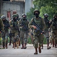 Israeli soldiers carry out a a raid in the village of Bruqin near the West Bank town of Salfit on March 17, 2019, after a terrorist fled to the village following a deadly stabbing and shooting attack (Flash90)