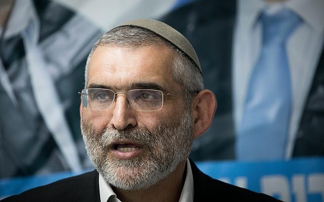 Otzma Yehudit party member Michael Ben Ari is seen at a press conference in Jerusalem following the High Court of Justice's decision to bar him from running in upcoming Knesset elections, on March 17, 2019. (Yonatan Sindel/Flash90)