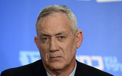 Benny Gantz, the leaders of the Blue and White political alliance attends a press conference in Tel Aviv on March 18, 2019. (Tomer Neuberg/Flash90)