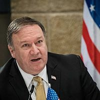 US Secretary of State Michael Pompeo during a press conference with Prime Minister Benjamin Netanyahu in Jerusalem, March 20, 2019. (Noam Revkin Fenton/Flash90)