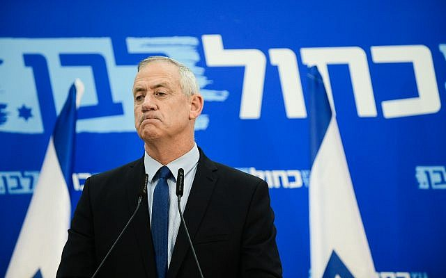 Benny Gantz, leader of the Blue and White party, speaks during a party meeting in Tel Aviv on March 20, 2019. (Tomer Neuberg/Flash90)