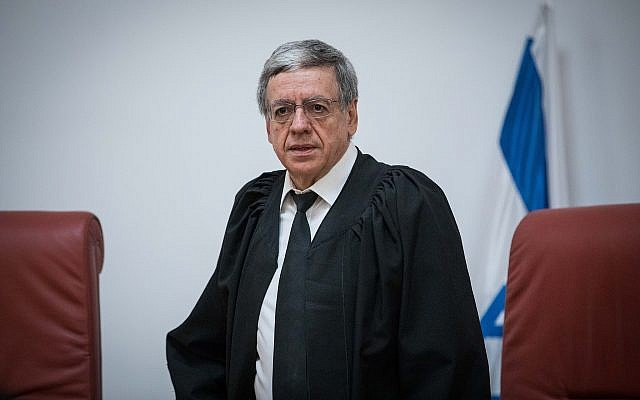 Supreme Court Justice Meni Mazuz at the Supreme Court in Jerusalem on March 22, 2019. (Yonatan Sindel/ Flash90)