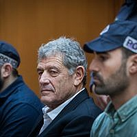 "Israeli businessman Miki Ganor, arrested in the submarine affair known as ""Case 3000,"" at a hearing at the Supreme Court in Jerusalem on March 22, 2019. (Yonatan Sindel/Flash90)"