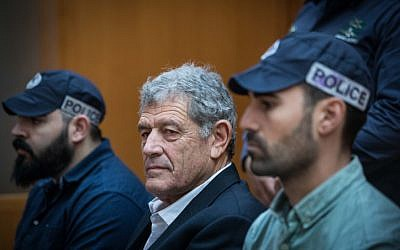 """Israeli businessman Miki Ganor, arrested in the submarine affair known as """"Case 3000,"""" at a hearing at the Supreme Court in Jerusalem on March 22, 2019. (Yonatan Sindel/Flash90)"""