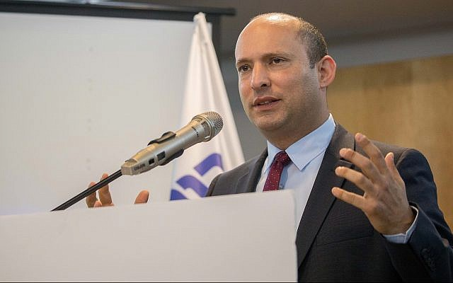 Education Minister Naftali Bennett speaks at a press conference held by his New Right party in Ashdod on March 26, 2019. (Yonatan Sindel/Flash90)
