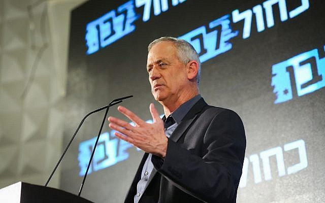 Benny Gantz during a Blue and White party event in Ashdod on March 30, 2019. (Flash90)