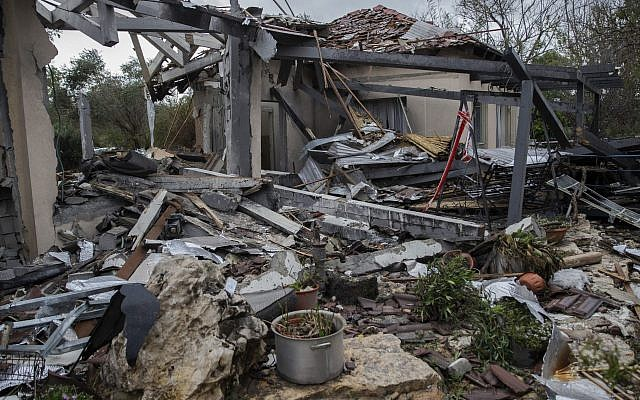 A rocket fired from the Gaza Strip leveled a home in Mishmeret, north of Tel Aviv, and injured seven on March 25, 2019. (Faiz Abu Rmeleh/Anadolu Agency/Getty Images/via JTA)