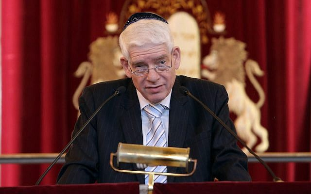 Josef Schuster, president of the Central Council of Jews in Germany, speaking at the Westend synagogue, in Frankfurt, Germany, September 26, 2016. (Hannelore Foerster/Getty Images via JTA)