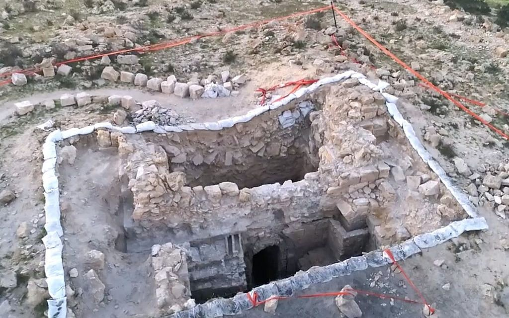 Still from drone footage at the ancient Negev city of Halutza. (Emil Eljam, Israel Antiquities Authority)
