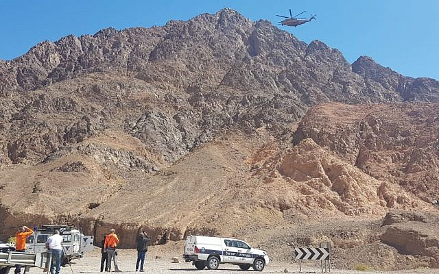 An IDF helicopter assists in recovering the body of US tourist who apparently slipped and fell to his death in a ravine in the Eilat mountains area, March 10, 2019. (Israel Police)