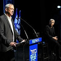 Blue and White leader Benny Gantz at a town hall meeting in Beersheba, on March 11, 2019. (Saria Diamant/Blue and White)