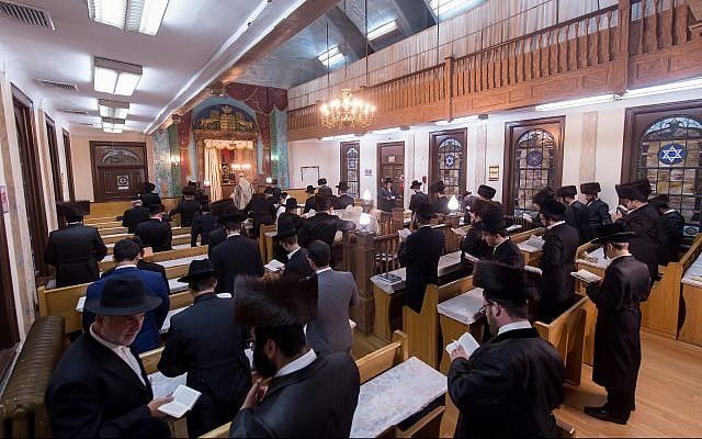 Congregants praying in Chevra Anshei Lubawitz in Borough Park, New York, before the synagogue was closed. (Courtesy David Shor)