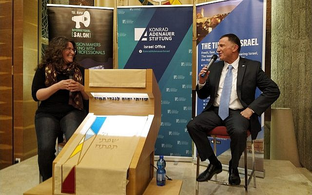 Times of Israel Jewish World editor Amanda Borschel-Dan, left, interviews Knesset Speaker Yuli Edelstein, at an English-language event in Tel Aviv co-hosted by The Times of Israel and the Tel Aviv International Salon, March 17, 2019. (Yaakov Schwartz/Times of Israel)