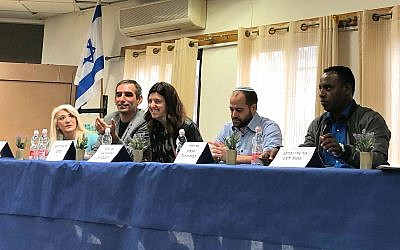 Candidates for the 2019 Knesset elections at KAN High School in Kfar Adumim, a West Bank settlement outside of Jerusalem on March 5, 2019. From left: MK Osnat Mark (Likud), Avi Davosh (Meretz), Michal Zernowitski (Labor), Davidi Ben Zion (Union of Right Wing Parties) and Gadi Yavrakan (Blue and White). (Amanda Borschel-Dan/Times of Israel)