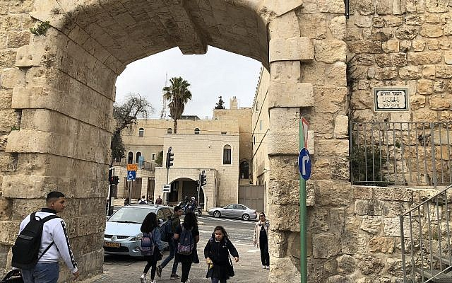 The New Gate in Jerusalem's Old City, recently renovated for NIS 11 million (Jessica Steinberg/Times of Israel)