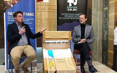 Zehut party chairman Moshe Feiglin (R) is interviewed by TOI political correspondent Raoul Wootliff in Tel Aviv on March 23, 2019. (Jacob Magid/Times of Israel)