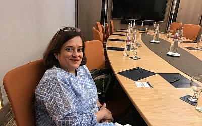 Debjani Ghosh, the president of the National Association of Software and Services Companies (NASSCOM), a trade association of Indian technology companies, during a visit to Israel, March 6, 2019 (Shoshanna Solomon/Times of Israel)
