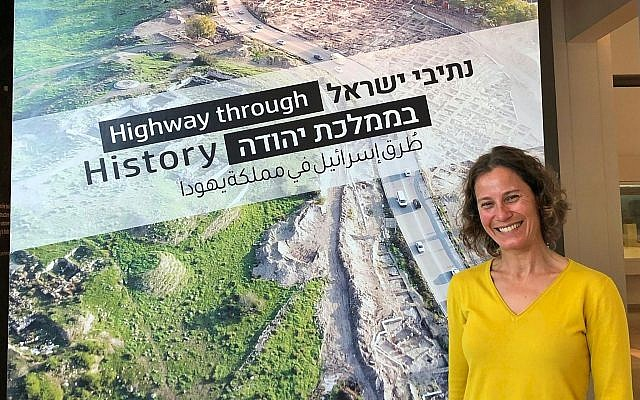 Leora Berry, Deputy Director of the Bible Lands Museum Jerusalem, ahead of the opening of the exhibit, 'Highway through History,' March 18, 2019. (Amanda Borschel-Dan/Times of Israel)
