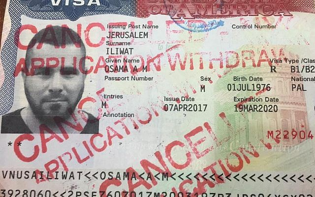 A photo of Osama Iliwat's canceled visa after he was denied entry to the United States in February 2019. (Courtesy of Iliwat via JTA)