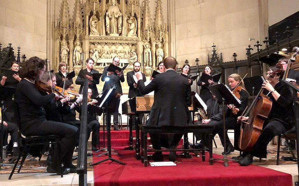 Dylan Sauerwald, at the harpsichord, conducted and directed the U.S. East Coast debut of Lidarti's 'Esther,' at Boston's historic Emmanuel Church, an Episcopal congregation in the city's Back Bay, that is also home to Central Reform Temple.  (Credit Daniel Lieber/courtesy Miryam Ensemble)