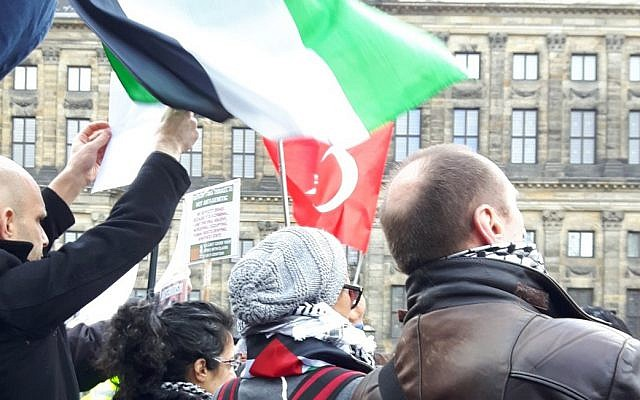 Protesters with Palestinian flags turn backs on Dutch