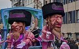 A parade float at the Aalst Carnaval in Belgium featuring caricatures of Orthodox Jews atop money bags, March 3, 2019. (Courtesy of FJO, via JTA)